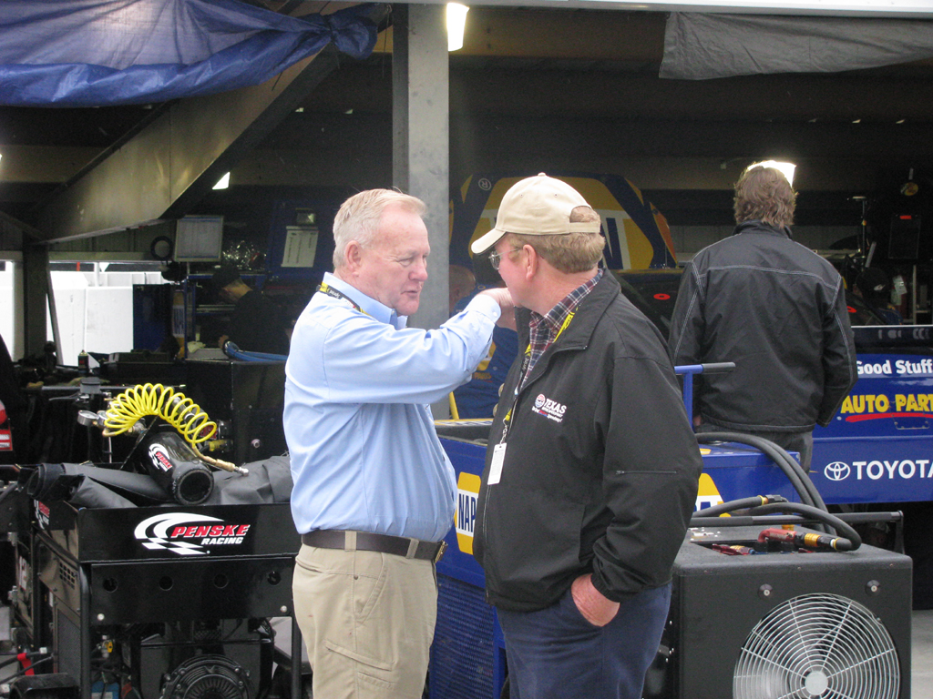 Rick Minter, of the newly created website RacinToday.com, catches up with former Lowe's Motor Speedway President Humpy Wheeler. (Photo Credit: NASCAR Public Relations)