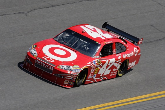 Juan Pablo Montoya scored his first NSCS pole at Talladega.  (Photo by John Harrelson/Getty Images for NASCAR)