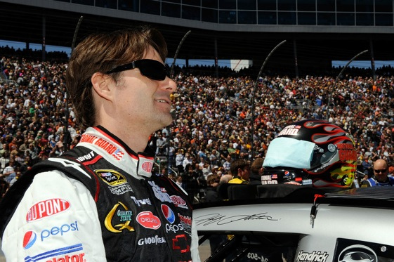 Jeff Gordon spends some quality time with 150,000 of his friends at Texas Motor Speedway.  (Photo by Rusty Jarrett/Getty Images for NASCAR)