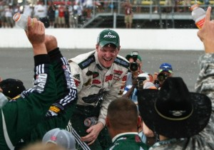 Dale Earnhardt Jr. has not had a Victory Lane celebration since this one at Michigan last June. He wants, needs, another and soon. (Photo by Jonathan Daniel/Getty Images)