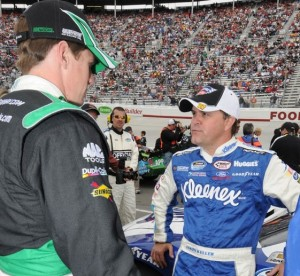Carl Edwards, right, gets sage advice from Nationwide Series veteran, Jason Keller.
