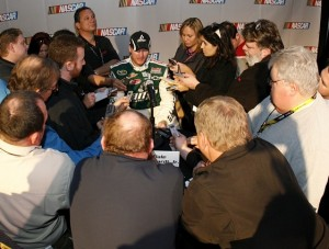 The world wants to know about Dale Earnhardt Jr. and his new diet. (Photo by Geoff Burke/Getty Images for NASCAR)
