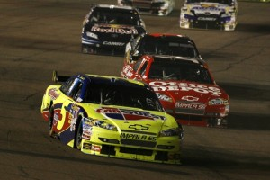 Mark Martin leads Tony Stewart late in Saturday night's Sprint Cup race in Phoenix. (RacinToday photo by David Vaughn)