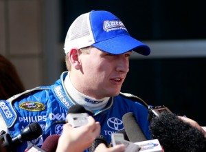 Michael McDowell was mobbed by the media after his spectacular flip at Texas last year (see video). Now he hopes he is on his way to being mobbed for success on the track with his new team, JTG Daugherty Racing. This week, he returns home to Phoenix in search of that success. (Photo by Justin Heiman/Getty Images)