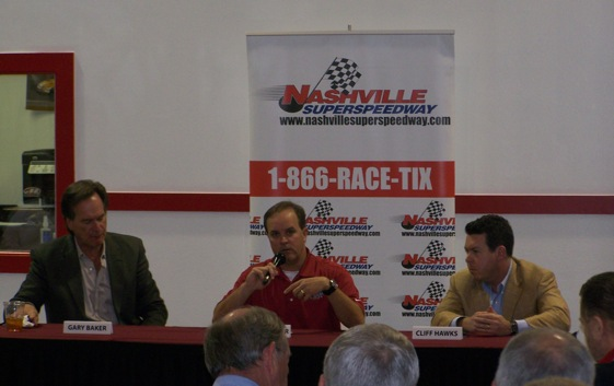 Nationwide team owner Gary Baker, left, driver Jason Keller, center, and Nashville Superspeedway owner Cliff Hawks talked about the future of the series this week. (Photo courtesy of NASCAR)
