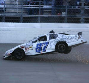 Joe Nemecheck crashed but did not burn at Nashville. (RacinToday.com photo by David M. Vaughn)