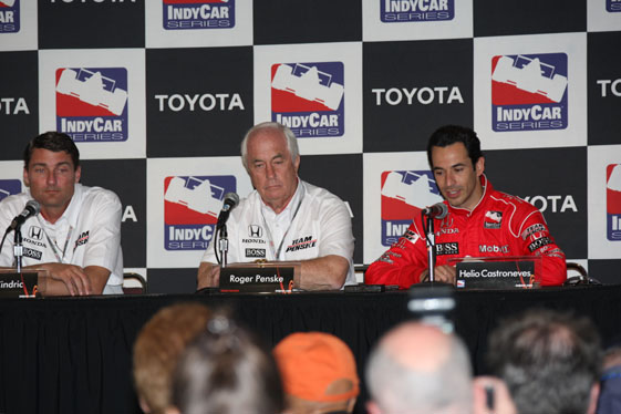 Penske Racing President Tim Cindric, left, team owner Roger Penske and Helio Castroneves at Saturday's press conference. (Photo by Ron McQueeney)
