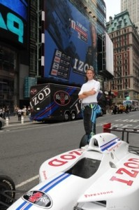 Ryan Hunter-Reay had the fastest car in Times Square recently. Photo courtesy of the Indy Racing League