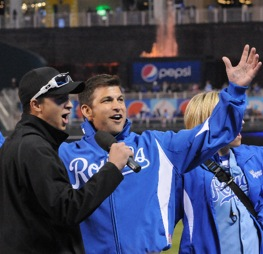 "Camping World Truck Series drives Chase Austin and David Starr sung ""Take Me Out To The Ball Game"" during a Royals game in Kansas City last week. This week, they will climb back into their trucks in Kansas."
