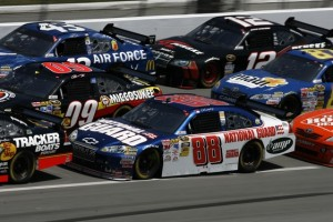 These cars at Talladega during Sunday's race are running at 200 mph. (RacinToday photo by David Vaughn)