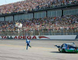 Carl Edwards had to leg it to the checkered flag after last-lap crash on Sunday at Talladega. (Photo by Jerry Markland/Getty Images for NASCAR)
