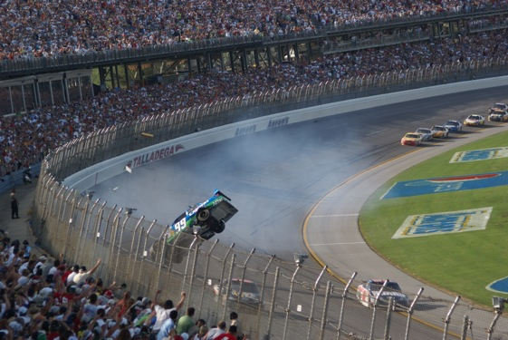 Carl Edwards heads for the fence on the frontstretch at Talladega. A number of fans were injured when Edwards' car slammed into the fence during Sunday's race. (RacinToday photo Courtesy of Harry C. Risher)