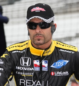Alex Tagliani concentrates on qualifying at Indy Saturday.