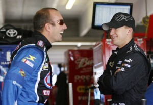 Marcos Ambrose, seen here with A.J. Allmendinger in the garages at Atlanta, appears to be a driver who could strike it rich in Sprint Cup. (Photo by Geoff Burke/Getty Images for NASCAR)
