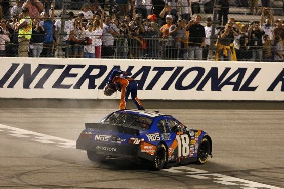 Kyle Busch takes a bow after winning Friday night's Nationwide Series race in Richmond. (RacinToday photo by David Vaughn)
