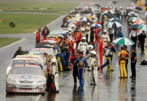 The rains came again to Lowe's Motor Speedway on Monday. (Photo by Streeter Lecka/Getty Images)