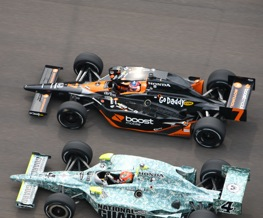 Dan and Danica went wheel to wheel late in Sunday's Indy 500. In the past, they went toe to toe. (Photo courtesy Indianapolis Motor Speedway)