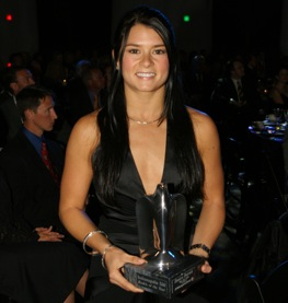 Danica Patrick and her Indy 500 rookie of the year award.