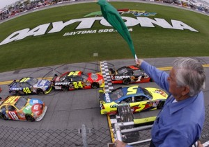 It can be tough to accurately determine just when the green flag is going to drop in NASCAR. (Photo by Chris Graythen/Getty Images)