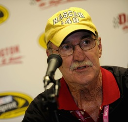NASCAR vice president of corporate communications Jim Hunter informed the media prior to the Southern 500 that  Jeremy Mayfield had been suspended.  (Photo by Rusty Jarrett/Getty Images for NASCAR)
