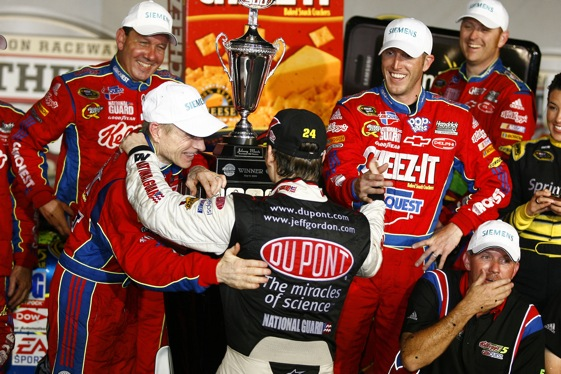 Race winner Mark Martin is paid a visit in victory lane by teammate Jeff Gordon after Saturday's Southern 500 in Darlington. (RacinToday photo by David Vaughn)