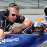 Driver Raphael Matos gets instructions from crew chief Ray Leto during ROP at Indy on Tuesday.