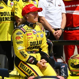 Sarah Fisher was a happy driver after locking up a spot in the 2009 Indianapolis 500.