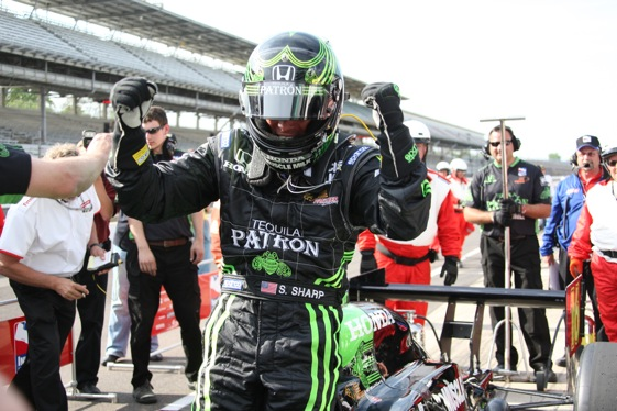 Scott Sharp reacts to last-minute qualifying for the Indianapolis 500 on Sunday.