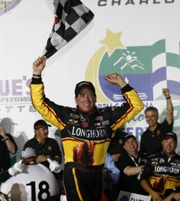 Ron Hornaday visits Victory Lane at Lowe's Motor Speedway. (RacinToday photo by David Vaughn)