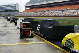 Qualifying for the Camping World Trucks race at Lowe's Motor Speedway was rained out Friday. (RacinToday photo by David Vaughn)