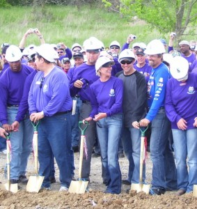 Officials, including Pattie Petty, Matt Kenseth and Kyle Petty, broke ground on Wednesday for the new Victory Junction Gang Camp in Kansas City, Kan.