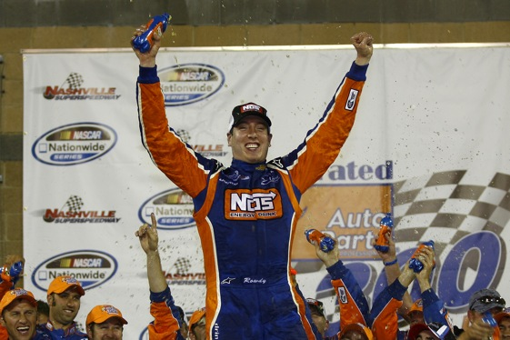 Kyle Busch celebrates his Nashville victory. (RacinToday.com photo by David Vaughn)