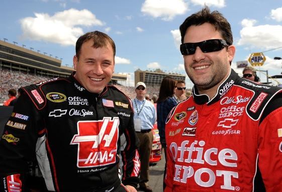 With the first half of the season these two guys have had, they should be smiling. (Photo by Rusty Jarrett/Getty Images for NASCAR)