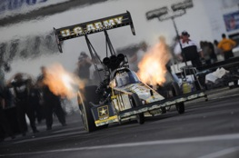 Tony Schumacher throws nitro flames at Englishtown. He heads to Sunday eliminations as top qualifier. 