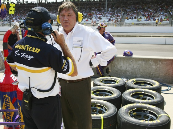 NASCAR vice president of competition Robin Pemberton was not smiling as he talked tires at last year's Allstate 400 at the Brickyard. (Photo by Jerry Markland/Getty Images for NASCAR)