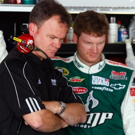 Lance McGrew and Dale Earnhardt Jr. (Photo by Jason Smith/Getty Images for NASCAR)