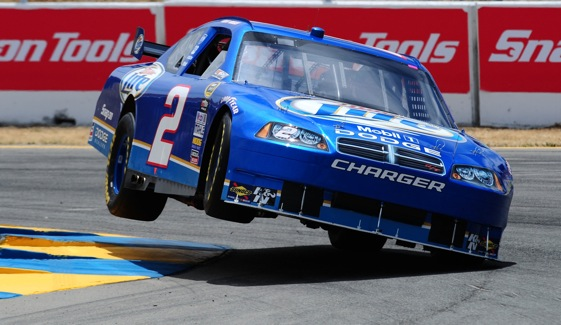 Kurt Busch executes a pirouette at Infineon. Try doing this on a oval.  (Photo by Robert Laberge/Getty Images)