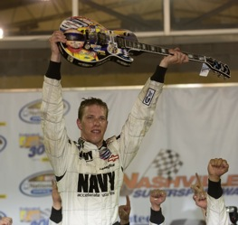 Brad Keselowski had to beat some big boys to win his guitar at Nashville last year.