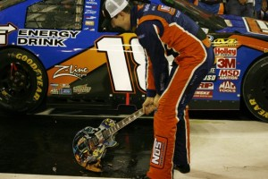 Kyle Busch celebrates his victory in Saturday's Nationwide Series race (RacinToday photo by David Vaughn)