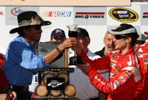 Team owner Richard Petty and Kasey Kahne celebrate Sunday's victory at Infineon Raceway. (Photo by Ezra Shaw/Getty Images for NASCAR)