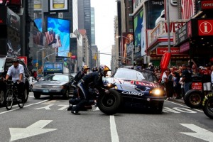 On Wednesday, Brian Vickers made a pit stop in New York City. On Friday, he won the pole at Michigan International Speedway. (Photo by Mike Stobe/Getty Images for Red Bull)