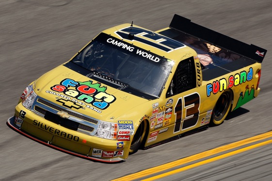 Johnny Sauter has turn the luck of the No. 13 truck toward the positive in recent weeks. (Photo by Chris Graythen/Getty Images)