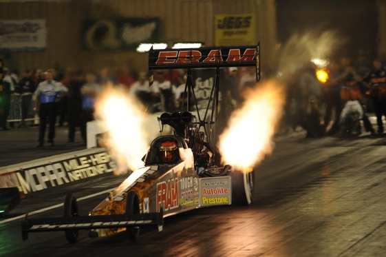 Cory McClenathan lit up the track Friday night. (NHRA photo)