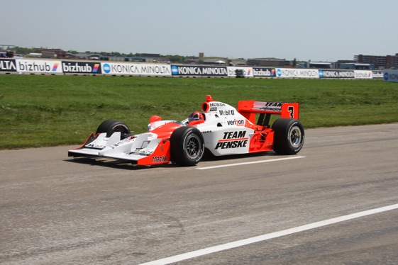 Helio Castroneves on pit road in Edmonton. (IndyCar photo by Shawn Payne)