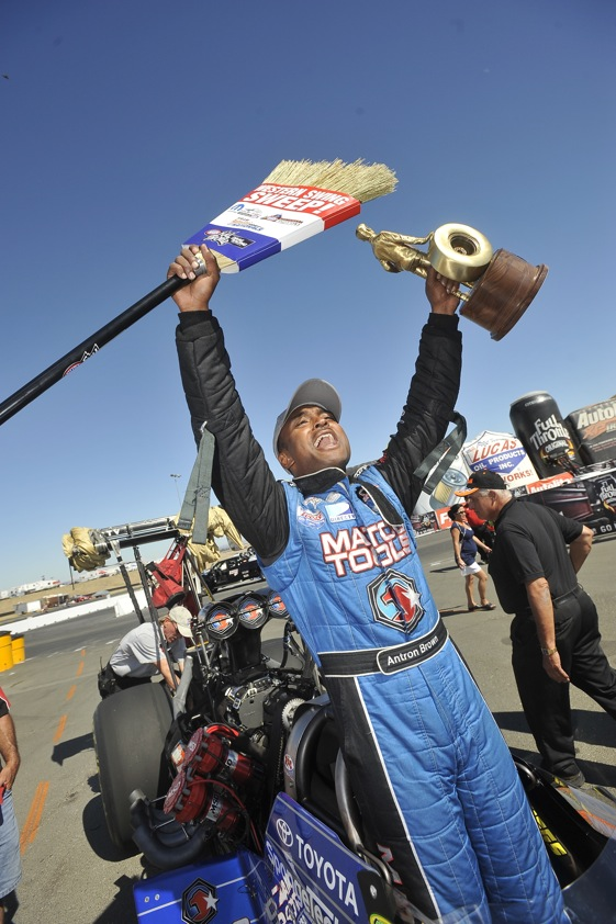 Antron Brown celebrates his sweep of the Western Swing. (NHRA photo)