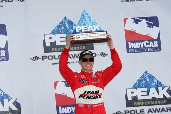 Ryan Briscoe celebrates his pole win at Watkins Glen. (IndyCar Series photo by Ron McQueeney)