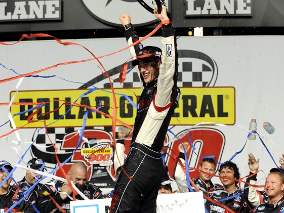 Joey Logano celebrates in victory lane. (Photo by Rusty Jarrett/Getty Images for NASCAR)