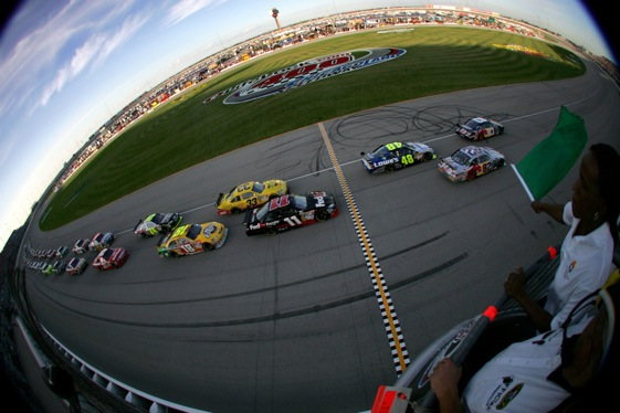 Racing at Chicagoland Speedway brought out the worst of double-file restarts.  (Photo by Todd Warshaw/Getty Images)