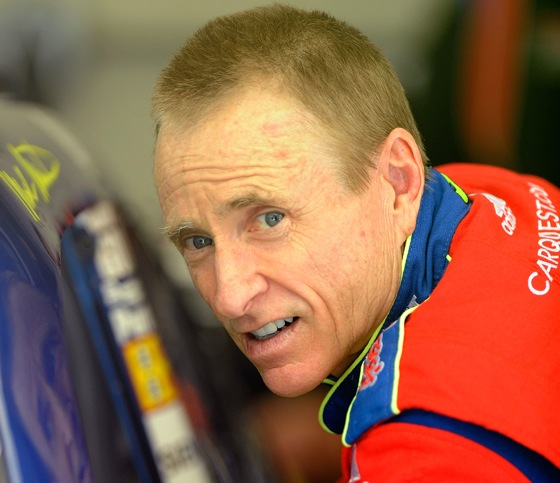 At 50, Mark Martin became the oldest driver to take the pole at IMS. (Photo by John Harrelson/Getty Images for NASCAR)