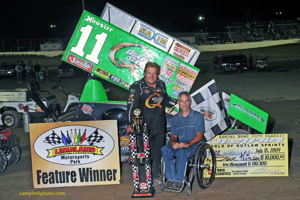 Steve Kinser with Brad Doty at the 21st Annual Ohio Logistics Brad Doty Classic at Limaland Motorsports Park. (World of Outlaws photo by Mike Campbell)
